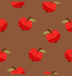 seamless pattern with red apples on a brown vector image