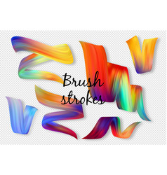 set colorful brush strokes vector image