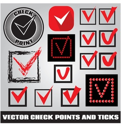 set of check points and ticks vector image