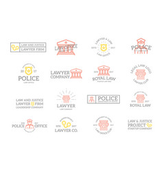set of retro vintage crime law police and vector image
