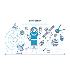 set on space spaceship including transport vector image