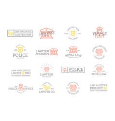 Set retro vintage crime law police and vector