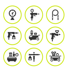 Set round icons compressor and accessories vector