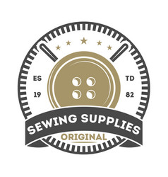 Sewing supplies isolated store label vector