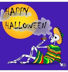 Skeleton With a Cigar vector image