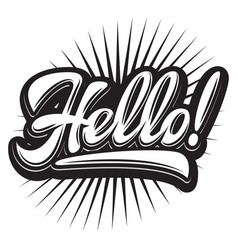 stylish with hello lettering vector image