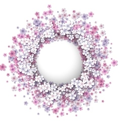 Stylized pink flowers frame vector