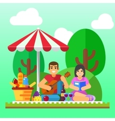 Summer picnic Young family happy couple holiday vector