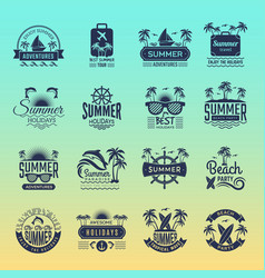 summer travel logos retro tropical vacation vector image