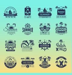 summer travel logos retro tropical vacation vector image