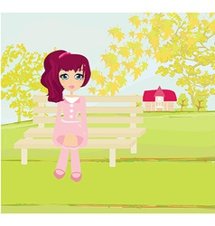 Sweet autumn girl vector