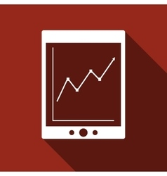 Tablet with business charts icon with long shadow vector image