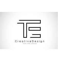 Te t e letter logo design in black colors vector