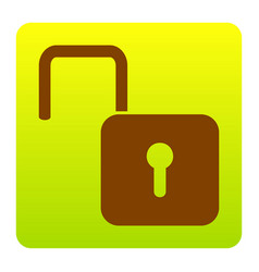 unlock sign brown icon at vector image