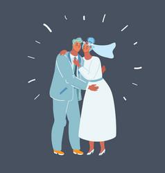 wedding couple kiss newlywed vector image
