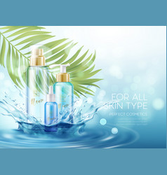 wet skin care products with splash water vector image