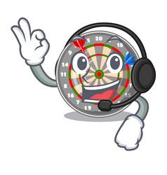 with headphone cartoon dartcoard next to wooden vector image