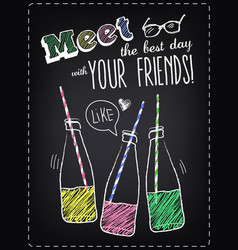 Youth style poster meet friends with bottles of vector