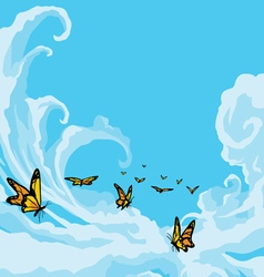 Butterflies Flying in A Blue Cloudy Sky vector image