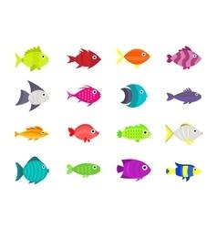Cute fish icons set vector image