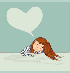 girl dreaming in love marine with big heart vector image