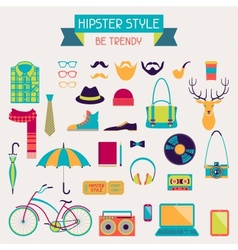 Hipster style elements and icons set for retro vector image vector image