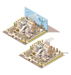isometric factory building with smoking vector image vector image