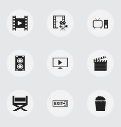 set of 9 editable movie icons includes symbols vector image