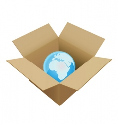 shipping box in world vector image