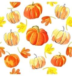 Watercolor halloween of pumpkins vector