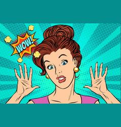 wow woman pop art vector image vector image