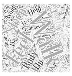Activities Promoting Healthy Aging Word Cloud vector image vector image