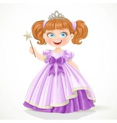 Cute little princess in purple dress and tiara vector image
