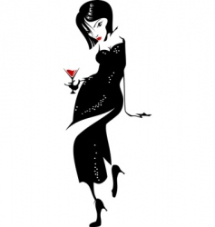 girl with wine glass vector image vector image
