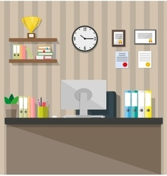 Modern office workspace vector image
