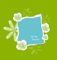 natural background with flowers and torn paper vector image