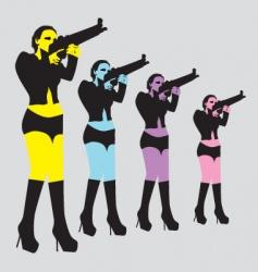 sexy woman with gun vector image