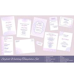 Stylish Wedding Templates Set vector image