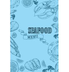 vintage seafood restaurant flyer vector image vector image