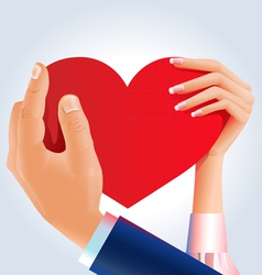 Couple holding heart vector image