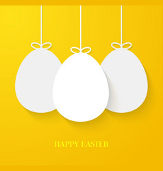 easter greeting card with hanging paper eggs vector image