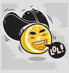 lol lots of laughs with laughing sliced lemon with vector image vector image