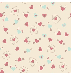 Seamless hearts pattern retro texture pink and min vector image