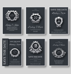 set of luxury flyer pages set with logo ornament vector image