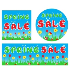 Spring sale stylized colorful banners vector image