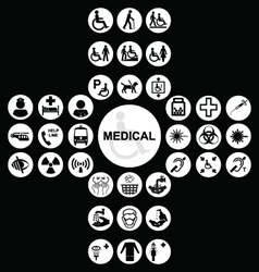 White Medical and health care Icon collection vector image vector image