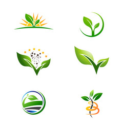 agriculture farm plant grow logo set vector image