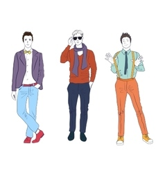 Handsome young guys men models in casual modern vector