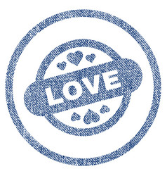 love stamp seal rounded fabric textured icon vector image vector image