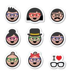 People wearing glasses geek labels set vector image vector image